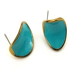 Gold-Tone Aqua Deep Stud Earrings